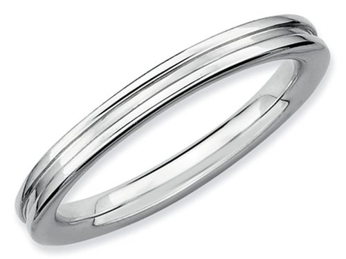 Stackable Expressions Sterling Silver Rhodium Grooved Stackable Ring Size 6