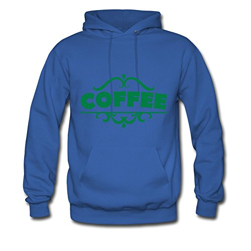 Bingo Men'S Coffee Green Letters Cotton Hoodie Sweatshirt Royal Blue Xxl