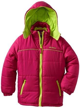 Pink Platinum Big Girls'  Contrast Zipper Puffer Jacket, Berry, 10/12