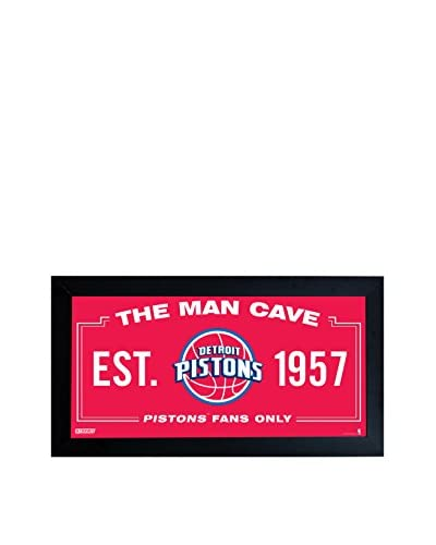 Steiner Sports Memorabilia Detroit Pistons Man Cave Sign, Red, 10 x 20