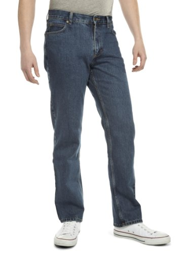 Lee Men's Brooklyn Regular Jeans   Dark Stonewash Blue 32W X 30L