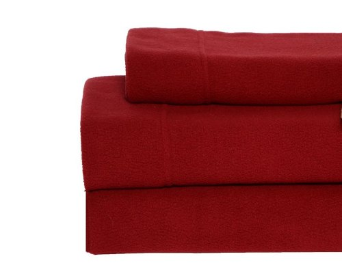 Eddie Bauer Fleece Sheet Set, Twin, Claret Red (Eddie Bauer Fleece Sheet Set Full compare prices)