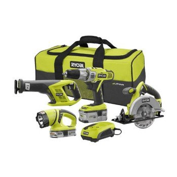 Factory-Reconditioned Ryobi ZRP844 ONE Plus 18V Cordless Lithium-ion 4-Piece Combo Kit