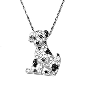 10k White Gold Dalmatian Puppy Diamond Pendant