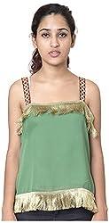 Izna Women's Slim Fit Top (IDWT106GR-Small, Green, Small)