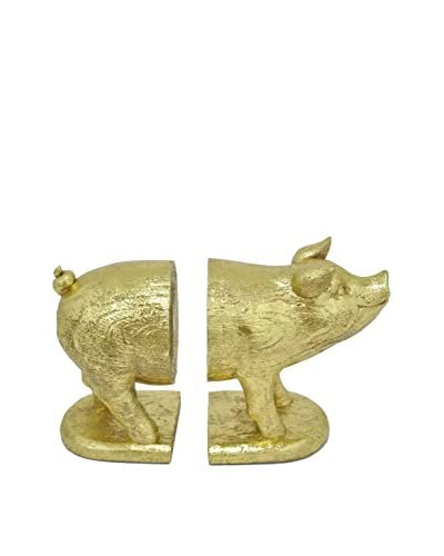 Three Hands Resin Pig Bookends, Gold