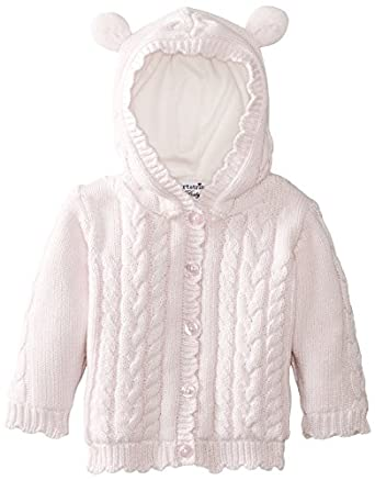 Hartstrings Baby-Girls Newborn Cotton Cardigan Sweater with Bear-Ear Hood, Pink Lilac, 6-9 Months