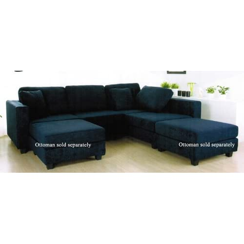 Amazon.com - Sectional Sofa with Block Feet in Navy Blue