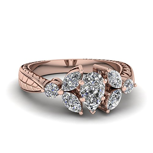 Fascinating Diamonds 1.50 Ct Pear Shaped Diamond Petal Engagement Ring Gold Vvs1-D Color 14K Gia