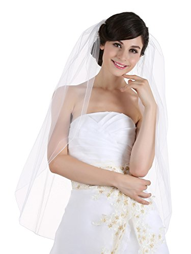 1T 1 Tier Pencil Edge Bridal Wedding Veil - Ivory Fingertip Length 36