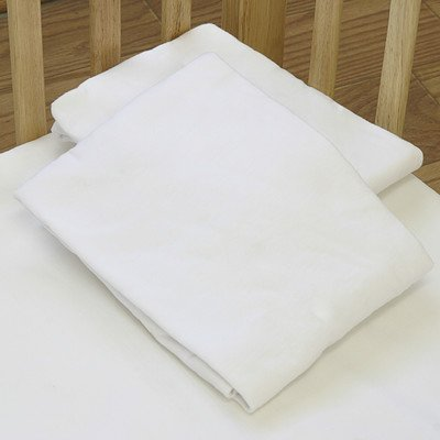 La Baby Fitted Compact Crib Sheet, White front-900868