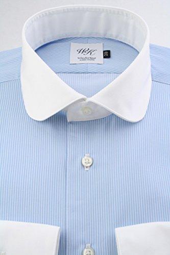 (ウィンザーノット アルバートアベニュー) Windsorknot Albert Avenue クレリックのラウンドカラー ドレスシャツ 日本製 綿100% スカイブルー地、白抜きストライプ rd4354