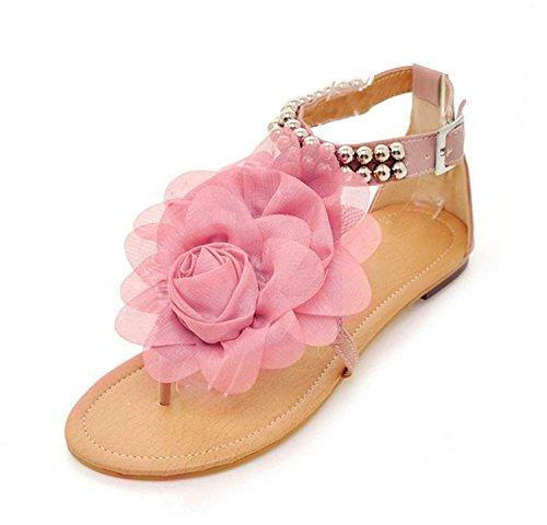 Minetom Donne Scarpe Casual Infradito Piatte Con Fiori Sandali Boemi D'Estate Scarpe ( Pink EU 37 )