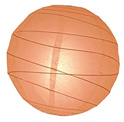 WeGlow International 16 Peach Free-Style Ribbed Paper Lantern (Set of 2)
