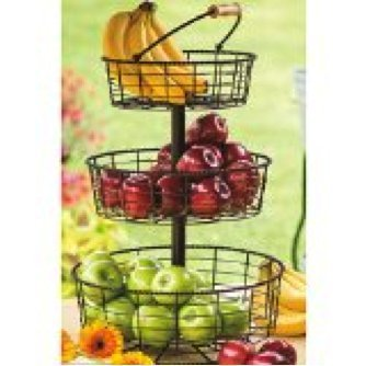 Useful UH-FB206 3 Tier Decorative Wire Fruit Basket Countertop Stand