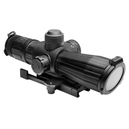 Ncstar 4X32 Rubber Compact With Red Laser/Blue Illuminated/Mil-Dot/Green Lens/Quick Release (Srtm432G)