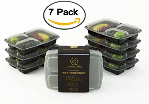 Quantahome 7 Pack. 3 compartment reusable food storage containers-Bento box set best for portion calorie control & Meal Prep-Easy Storage & carry-Freezer,Microwave and dishwasher safe-Premium BPA free (Pots For Plans compare prices)