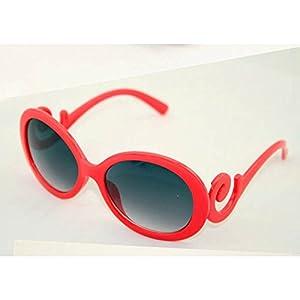 HuaYang Rétro femmes UV400 lunettes de soleil conception de grand cadre(Rouge)