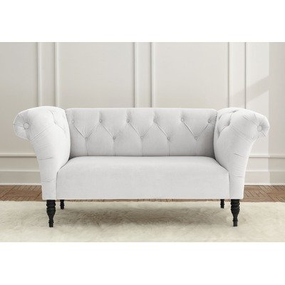 The gallery for white tufted chaise lounge for Alaina tufted chaise in white