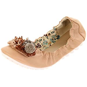 Wanted Shoes Women's Lena Ballerina Flat,Natural,8.5 M US