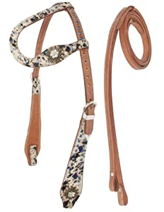 New Leather Western Hair on Hide One Ear Headstall Reins Western Tack Horse Tack