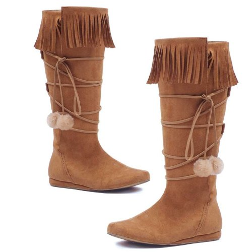 Sexy Womens Knee High Boots Costume Footwear Tan Fringe Poms