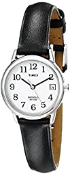 Timex Women\'s T2H331 Easy Reader Black Leather Strap Watch