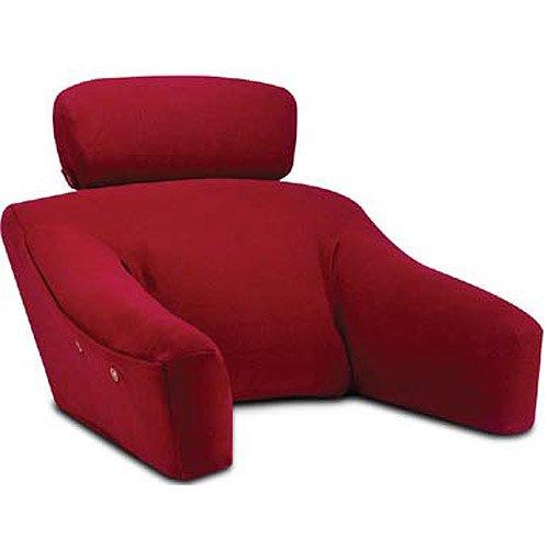 BedLounge Hypoallergenic (Regular Size, Burgundy Velour-Fleece Cover): The Ultimate Back Wedge, Bed Rest, Back Support, Comfort Reading Pillow