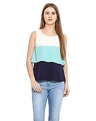 Albely Women's Color Block Tiered Top