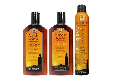 """Agadir Argan Oil Moisturizing Shampoo&Conditioner 12.4Oz & Hair Spray 10.5Oz """"Set"""" (W/ Hair Treatment Sample & Roll-On Body Oil)"""