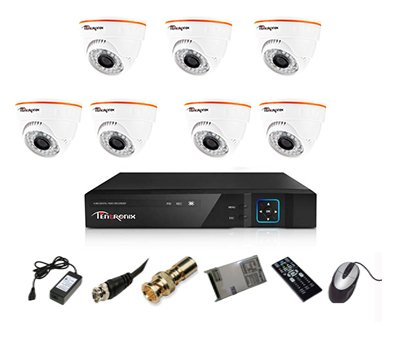 Tentronix T-8ACH-7-DA10 8-Channel AHD Dvr, 7(1MP/36IR) Dome Cameras (With Accessories)