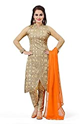 Gold Net Embroidered Unstitched Dress Material