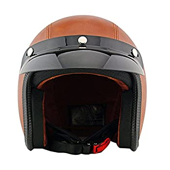 Tpfocus Fashion 3/4 Open Face Motorcycle Leather Vintage Helmet, Brown L