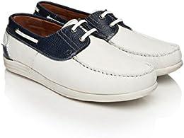 Alberto Torresi Men White Navy Leather Casual Shoes