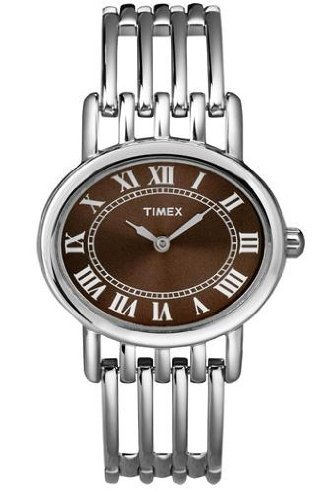 Timex Womens Classics Roman Numerals Brown Dial Stainless Steel Bracelet Watch T2N416