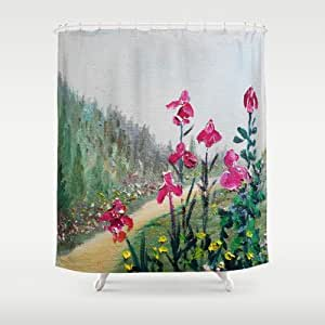 Society6 Magenta Plum Bearded Iris Waltz Shower Curtain By Rokinronda Home Kitchen