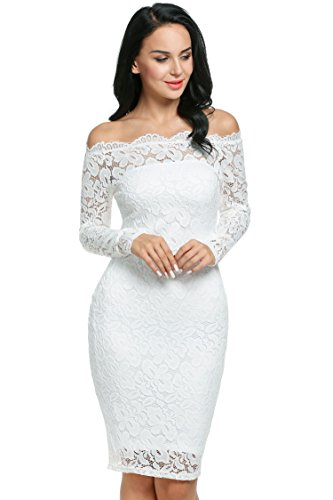 Meaneor Women's Sexy Floral Lace Long Sleeve Slim Formal Mini Dress