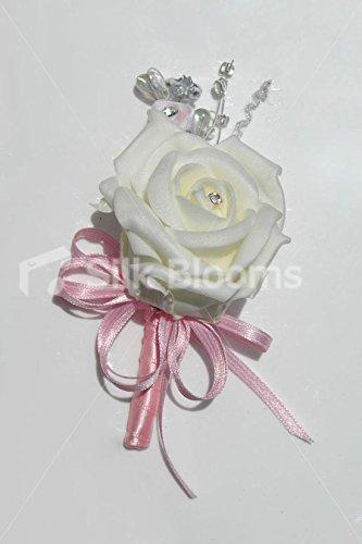 White Rose-Coccarda con fiocco rosa e cristalli Swarovski