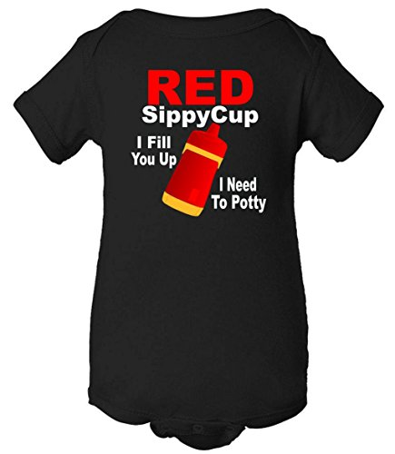 Red Sippy Cup I Fill You Up I Need To Potty One Piece Romper Baby Bodysuit BS598758945848
