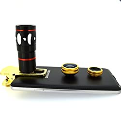 Mobilegear 4 in 1 Mobile Camera Lens for Smartphone Photography with Macro, Wide Angel, Fish Eye and 10X Zoom Lens - Golden