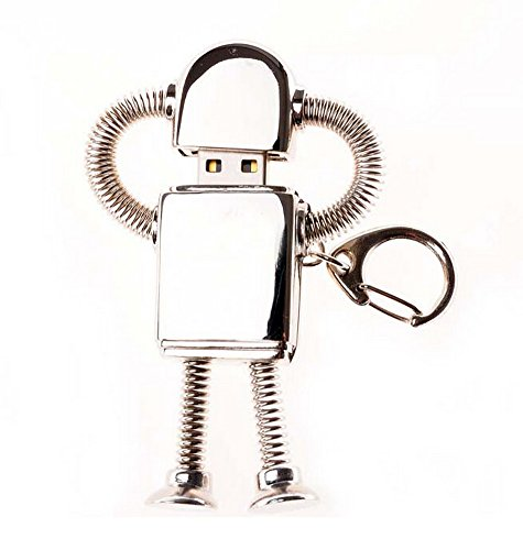 Creative Metal Silver Robot Flash Drive 16GB USB 2.0 Memory Stick