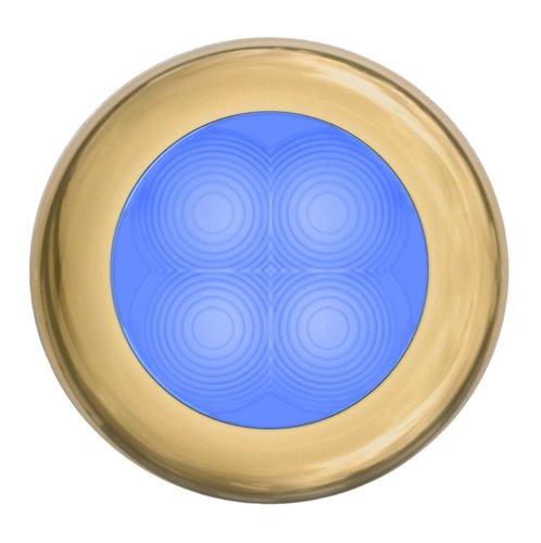 Hella 980503231 '0503 Series' Slim Line Blue 24V Dc Round Soft Led Courtesy Light With Gold Stainless Steel Rim