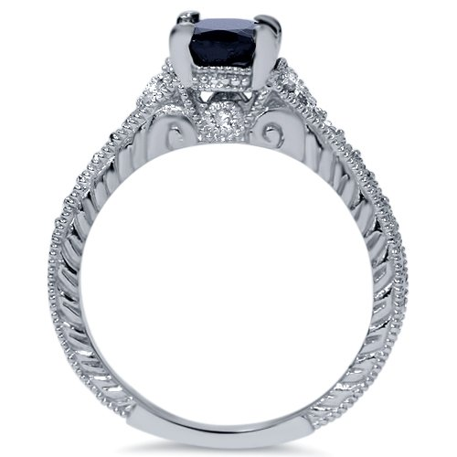 Carbonado ♦♦♦ 2ct Vintage Diamond Black Sapphire Engagement Ring 14K White
