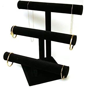 Black Velvet Bracelet T Bar 3 Tier Jewelry 2