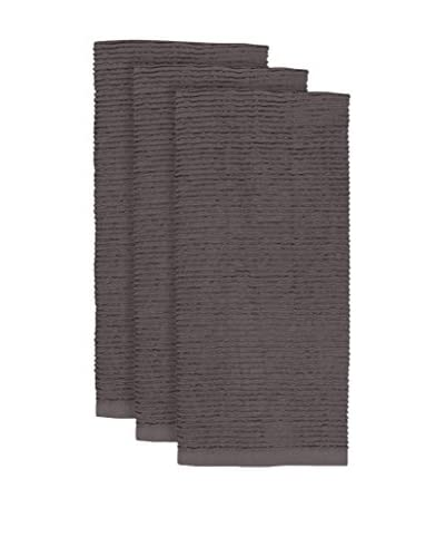 KAF Home Set of 3 Wave Terry Towels, Pewter