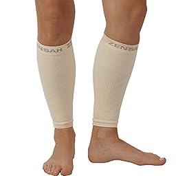 Zensah  Compression Leg Sleeves, Beige, Large/X-Large