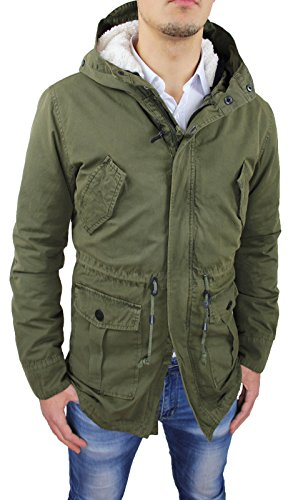 Giaccone uomo Parka verde militare invernale casual giacca cappotto con pelliccia (XXL, Verde militare)