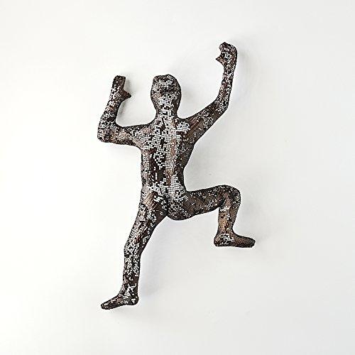 Contemporary metal wall art, Climbing man sculpture, wire mesh sculpture, wall hanging, rock climbing