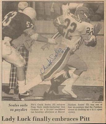 Chuck Scales Signed 1984 Newspaper Photo Clipping Pitt Beats Psu