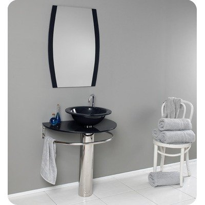 Scoperto Modern Black Glass Bathroom Vanity with Mirror Finish / Faucet Style: Chrome / Cascata Vessel